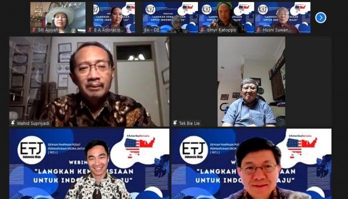 Perhimpunan Eropa untuk Indonesia Maju (PETJ) dan Amerika Bersatu (AB1) menginisiasi sebuah webinar yang melibatkan Yayasan BaktiMed dan doctorSHARE. Foto: Ist