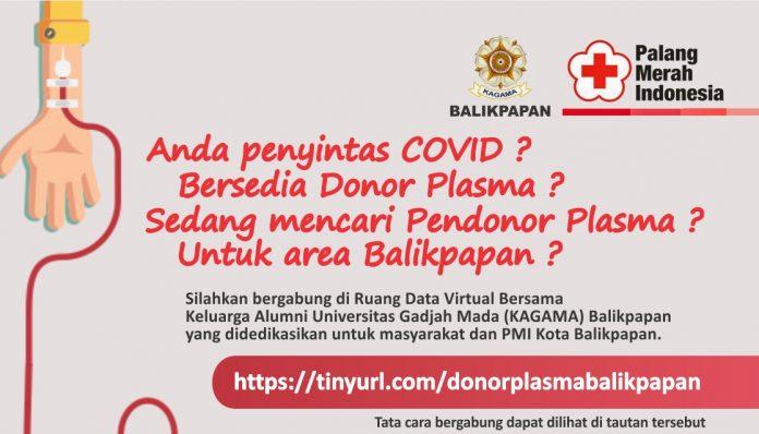 KAGAMA Balikpapan menyediakan bank data pendonor plasma konvalesen dan tabung oksigen gratis. Foto: KAGAMA Balikpapan
